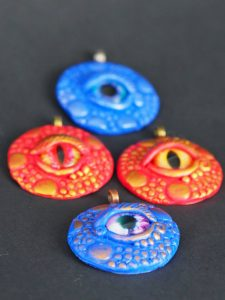 Dragon eye pendants by Cathelijne Filippo